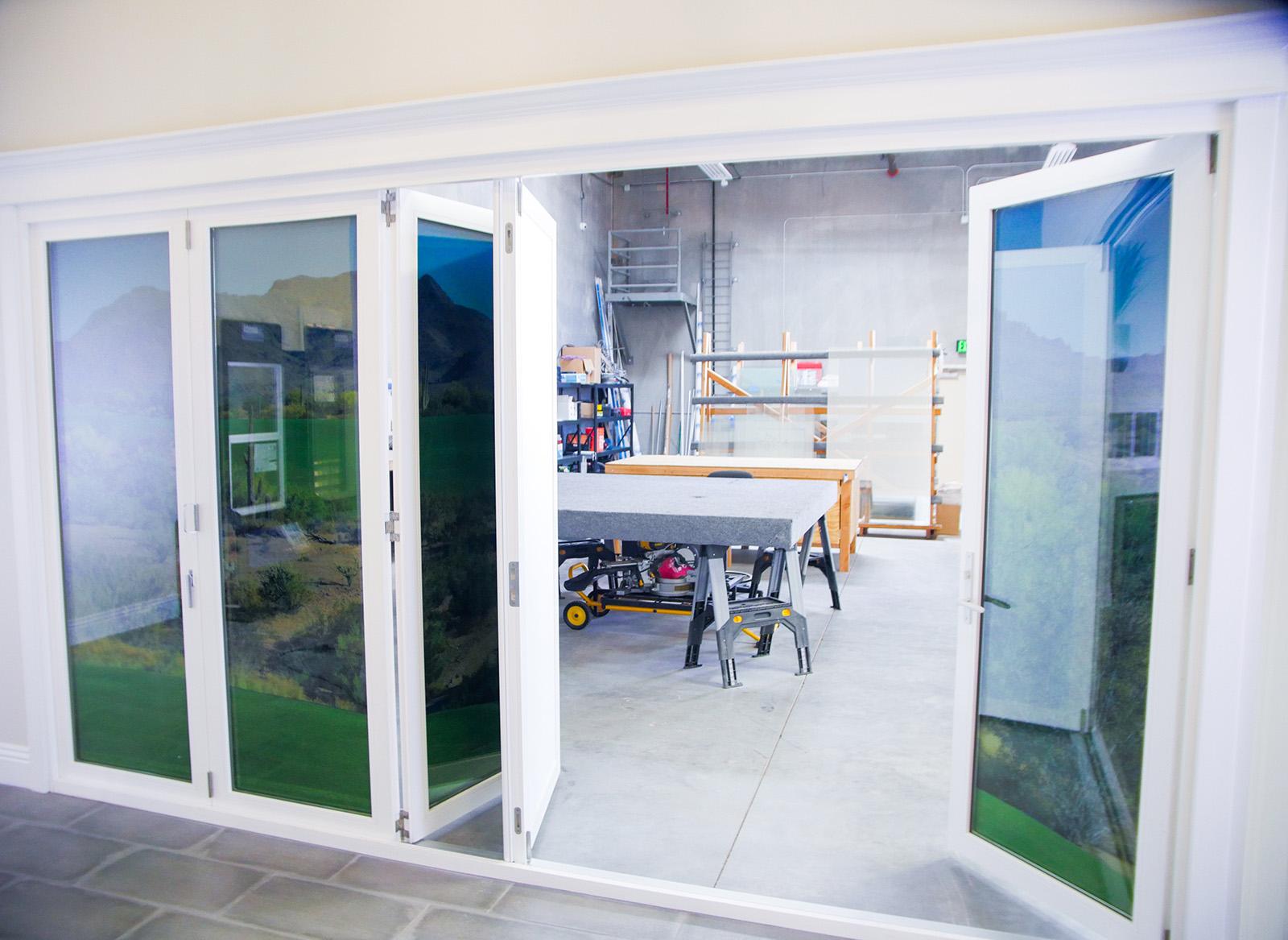 Showroom Folding Wall Clear Cut Glass