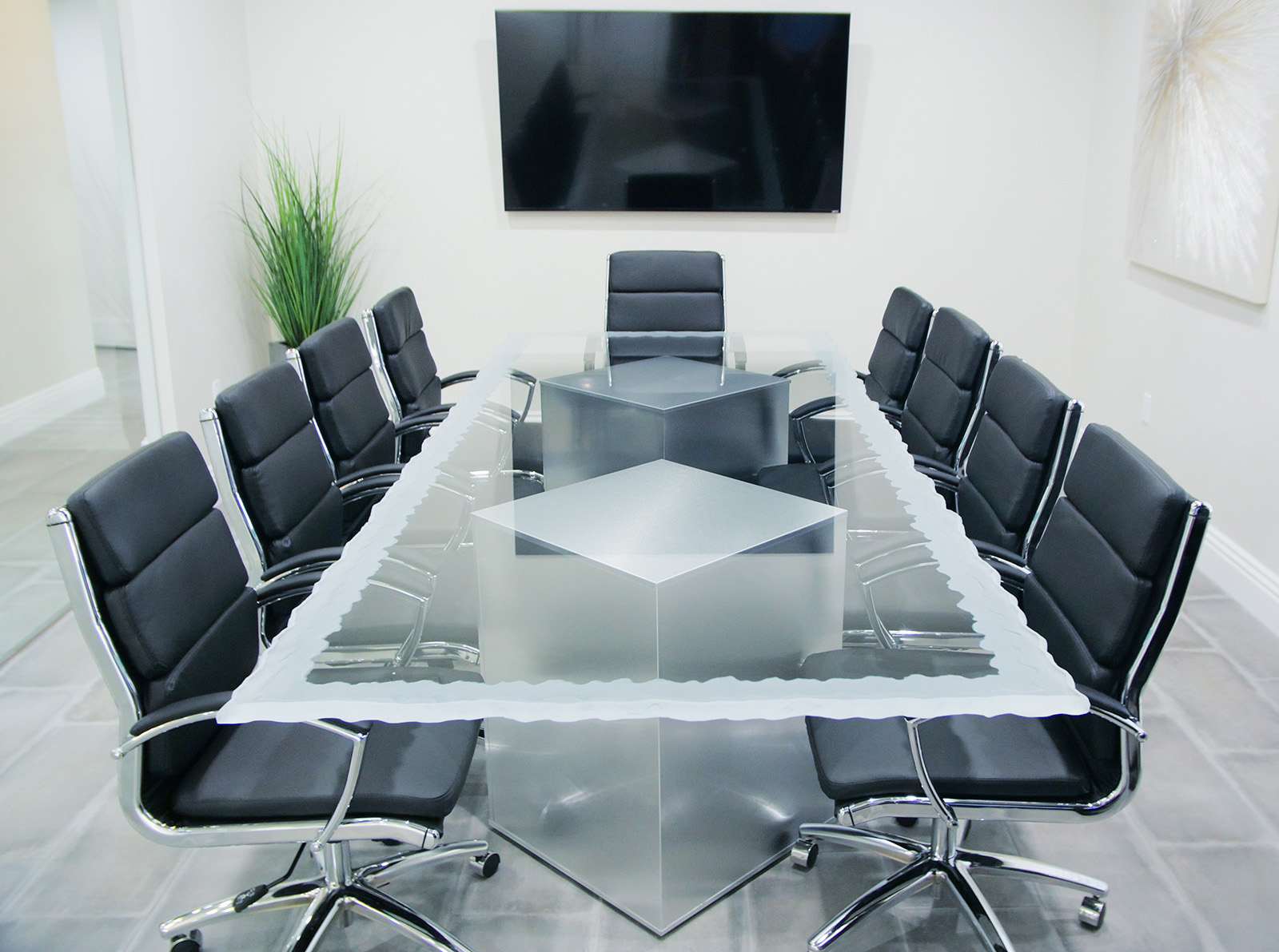 Clear Cut Glass Conference Table